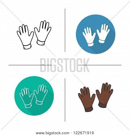 Gloves flat design, linear and color icons set. Men's fashion classic leather gloves. Construction work gloves. Medical and surgical gloves. Long shadow logo concept. Isolated vector illustrations