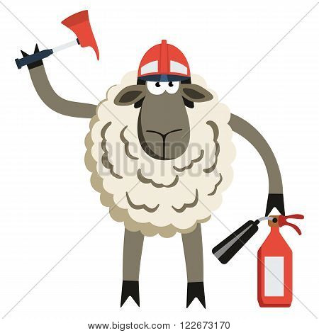 Stubborn Lamb Fireman. Sheep professional character. Vector illustration of stubborn fire fighter isolated on white.