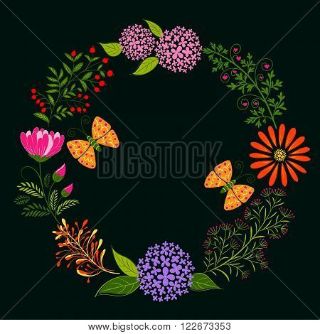 Springtime Colorful Flower and Butterfly on Dark Green Background