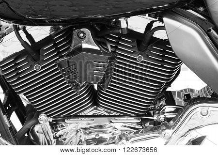 Motor bike detail engine black and white background