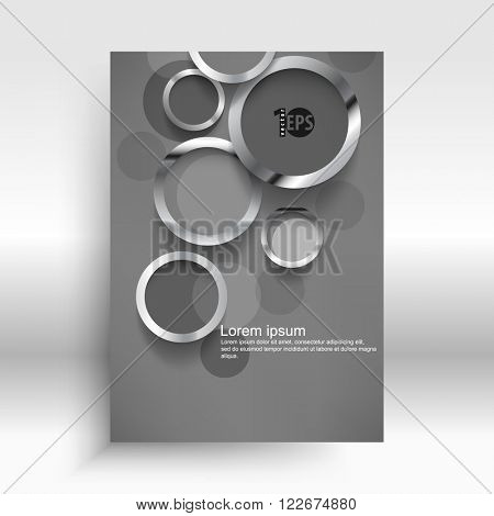 overlapping metallic rings corporate design elements. eps10 vector