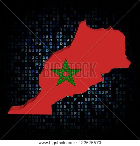 Morocco map flag on hex code illustration