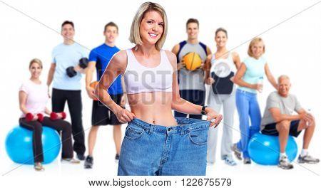 Slimming woman wearing big pants.
