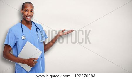 Medical doctor man presenting copy space.