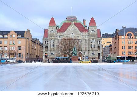 Helsinki; Finland - March, 14, 2016: skating rink in a center of Helsinki; Finland