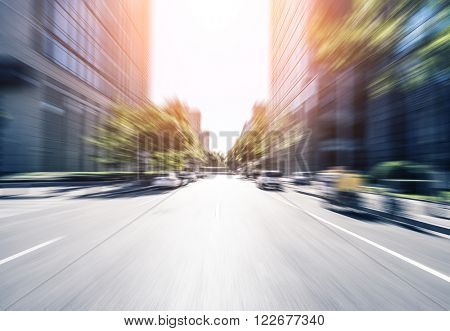 city road through modern buildings in beijing