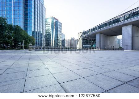 marble floor front of modern buildings in beijing