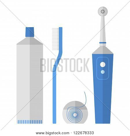 Oral hygiene. Set of toothbrush, dental floss, toothpaste, flat icons isolated on white background. Vector illustration