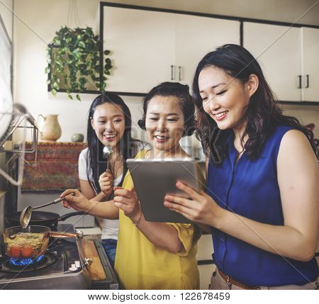 Kitchen Cooking Leisure Adorable Family Casual Concept