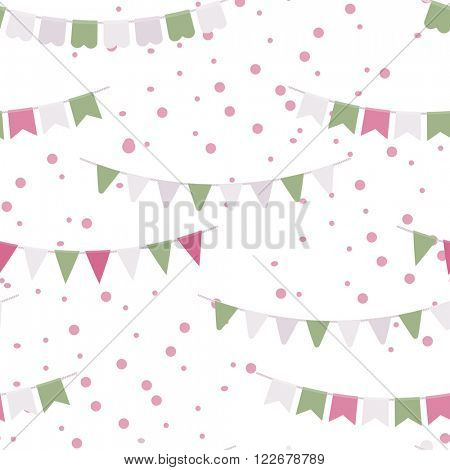 Bunting party flags garland  seamless vector pattern. Good idea for birthday party, wedding celebration, wrapping paper, textile, wallpaper, arrival baby card and other