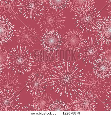 Vector seamless pattern with stylized mandalas and flowers in pastel pink colors.
