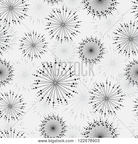 Vector seamless pattern with stylized dandelions and chrisanthemums in grey and beige colors.