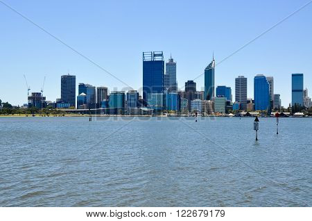 PERTH,WA,AUSTRALIA-FEBRUARY 13,2016: View of the modern architecture in Perth from South Perth with the Swan River in Perth, Western Australia.