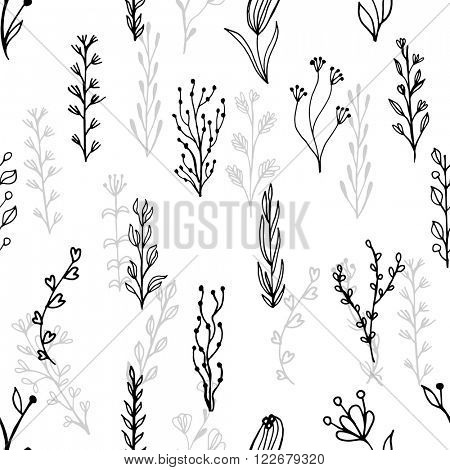 Abstract floral seamless pattern with branches and flowers.