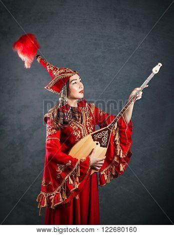 Kazakh Woman With Dombra