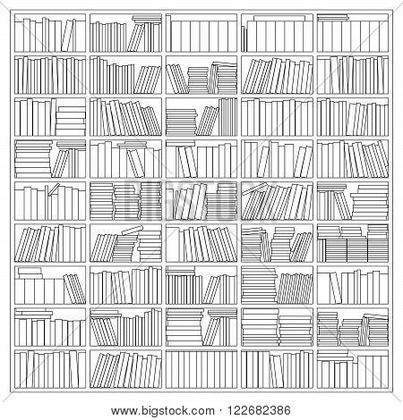 Vector Illustration Of A Bookshelf As An Outline Drawing