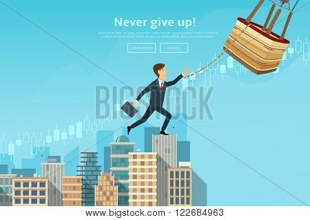 Confident businessman walking up the career stairs and jumping to the air balloon. Concept of web banner with person walking to the success and doing risky jump. Modern flat design of urban landscape with city buildings, vector illustration.