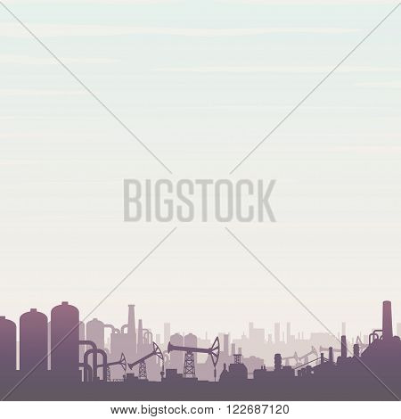 Oil and Gas Refinery. Panoramic Industrial Landscape with Pump Jack and Abstract Factory.