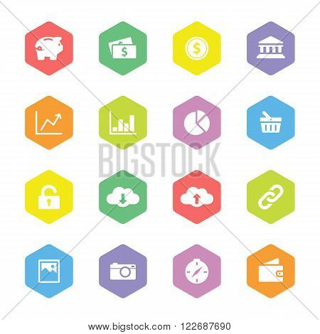 colorful flat finance and technology icon set on hexagon for web design uset interface (UI) infographic and mobile application (apps)