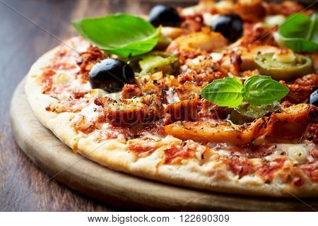 Spicy pizza with chicken and jalapeno pepper