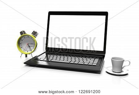 alarm clock, laptop and cup of hot thea on table