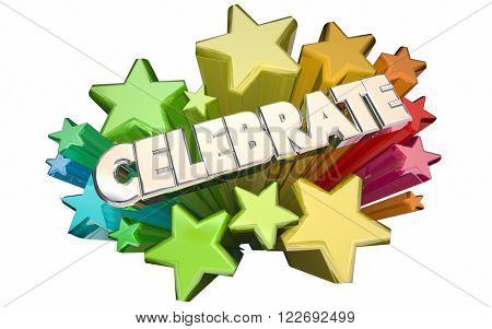 Celebrate Success Winning Goal Achieved Accomplished Stars 3d Word