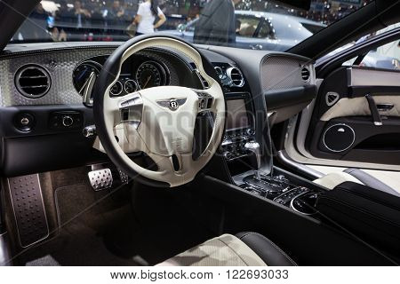 GENEVA, SWITZERLAND - MARCH 1: Geneva Motor Show on March 1, 2016 in Geneva, Bentley Mulsanne EWB, driver interior view