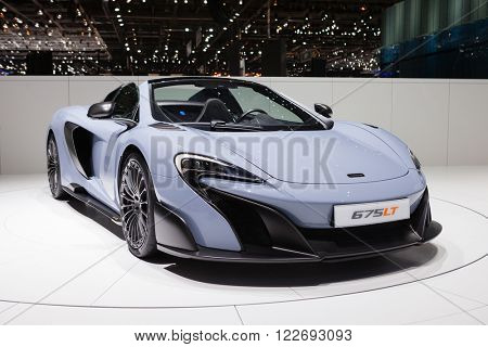 GENEVA, SWITZERLAND - MARCH 1: Geneva Motor Show on March 1, 2016 in Geneva, McLaren 675LT, front-side view