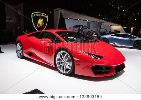 GENEVA, SWITZERLAND - MARCH 1: Geneva Motor Show on March 1, 2016 in Geneva, Lamborghini Huracan, front-side view