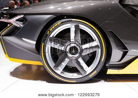 GENEVA, SWITZERLAND - MARCH 1: Geneva Motor Show on March 1, 2016 in Geneva, Lamborghini Centenario, rear wheel closeup view