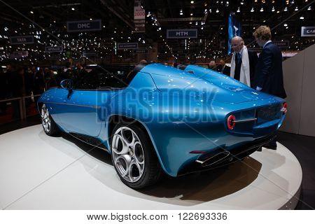 GENEVA, SWITZERLAND - MARCH 1: Geneva Motor Show on March 1, 2016 in Geneva, Touring Superleggera Disco Volante Spyder, rear-side view