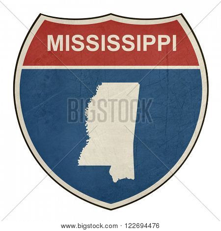 Mississippi American interstate highway road shield isolated on a white background.