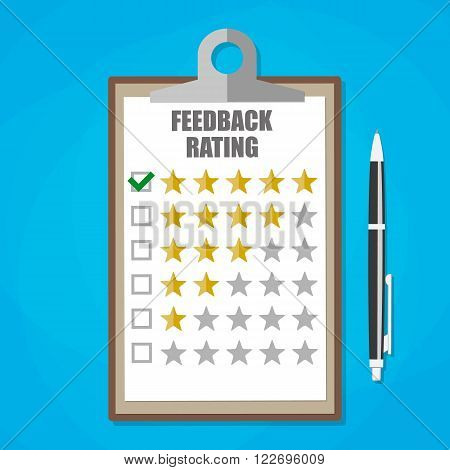 Cartoon leather clipboard with five stars feedback rating and pen. Feedback form, Customer service. vector illustration in flat design on blue background