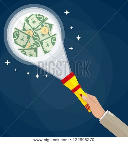 Cartoon businessman hand with red flashlight see money. Business inspection concept. vector illustration in flat design on dark background