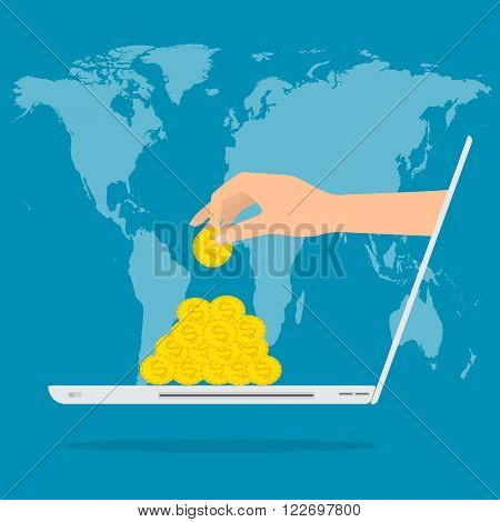 Hand putting gold money from laptop with internet for income on world map background. Vector illustration flat design business online work with passive income.