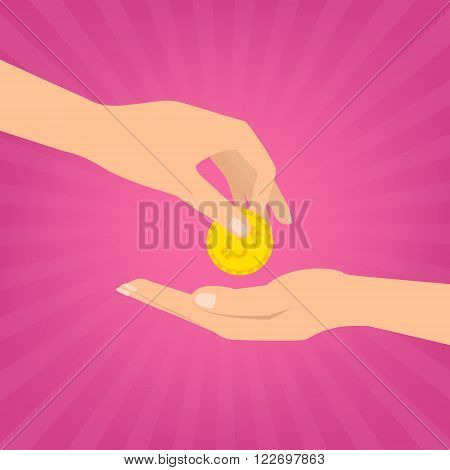 Human hand putting money coins to hand for donate on pink sunray background. Flat design vector illustration donate money concept.