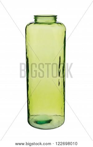Green Cylindrical Crystal Vase