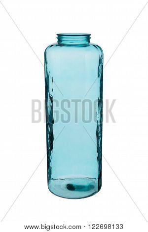 Blue Cylindrical Crystal Vase