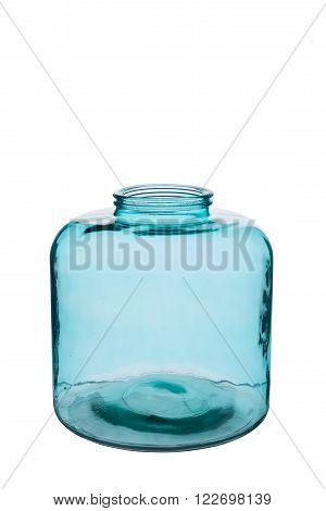Short Turquoise Cylindrical Crystal Vase