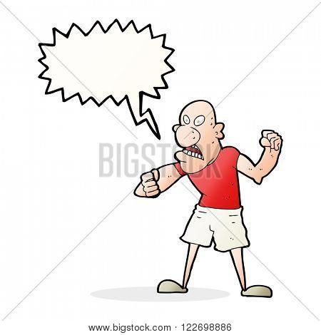cartoon violent man with speech bubble