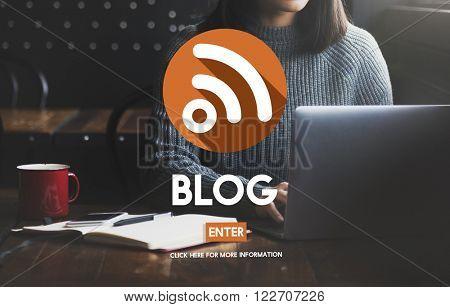 Blog Blogging Browsing Woman Concept