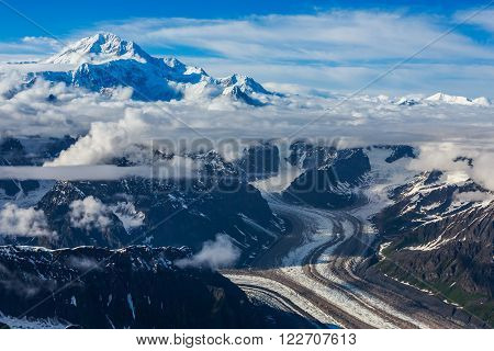 Flying over Glacier at Mount McKinkey, Denali national Park