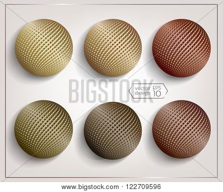 A set of 3D spheres with Halftone Effect. Metal effect. Elements for design. Vector EPS10 comfortable editing.