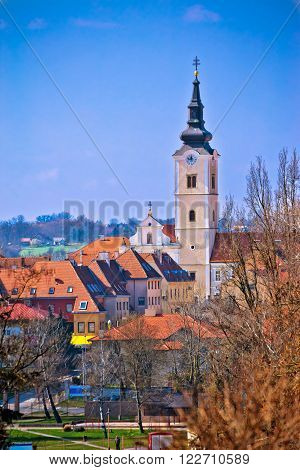 Church of Saint Ana in Krizevci vertical view Prigorje Croatia