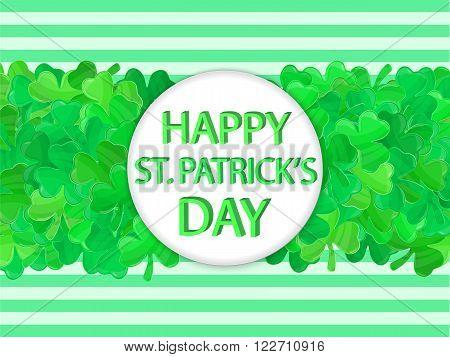 Patricks Day Sign Green Clover Frame Cartoon Style