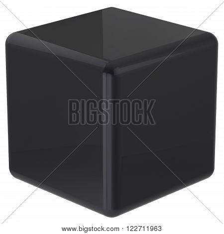 Cube black geometric shape dice block basic box solid square brick figure simple minimalistic glossy element single shiny blank object. 3d render
