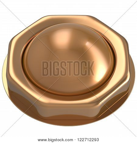Button gold start turn off on action push down activate ignition power switch electric design element metallic shiny blank golden yellow. 3d render