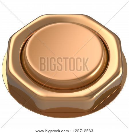 Button golden luck casino power switch push down activate start turn on off action ignition electric design element metallic shiny blank gold yellow. 3d render