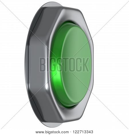 Button green push down activate positive power switch start turn on off action ignition electric design element metallic shiny blank