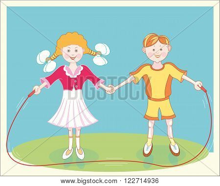 Cheerful smiling children jumping rope. Happy carefree childhood. Vector graphic image.